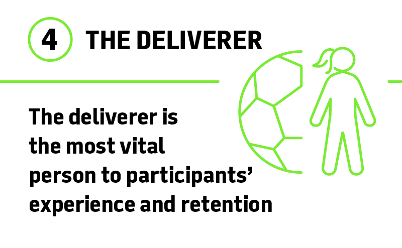 The deliverer is the most vital person to participants' experience and retention