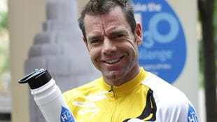 Cadel Evans holding a water bottle