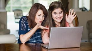 Mother and daughter on Skype call